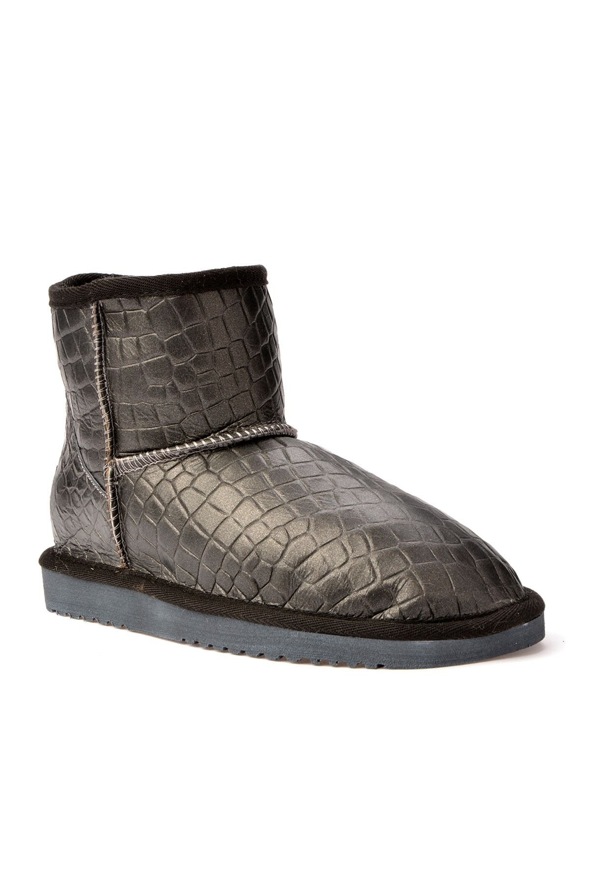 Cool Moon Women Uggs From Genuine Fur With Crocodile Pattern Anthracite-colored