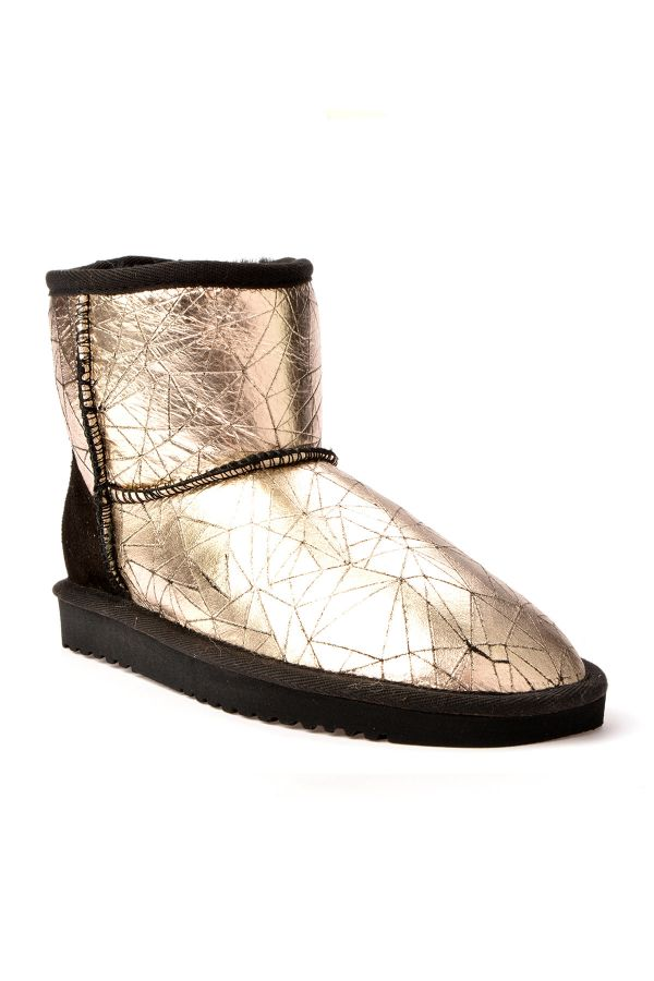 Cool Moon Women Uggs From Genuine Fur With Lazer Pattern Golden