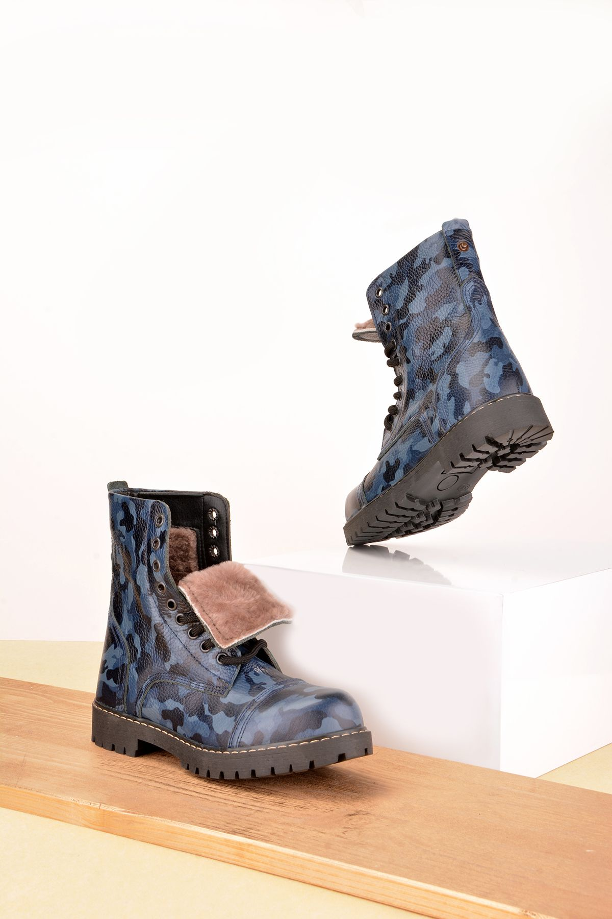 Cool Moon Women Boots From Genuine Leather And Fur With Camouflage Pattern Blue