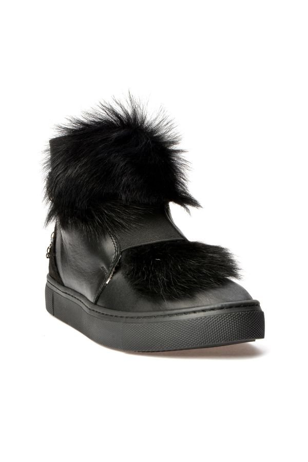 Alba Women Boots From Genuine Leather And Toscana Fur Black