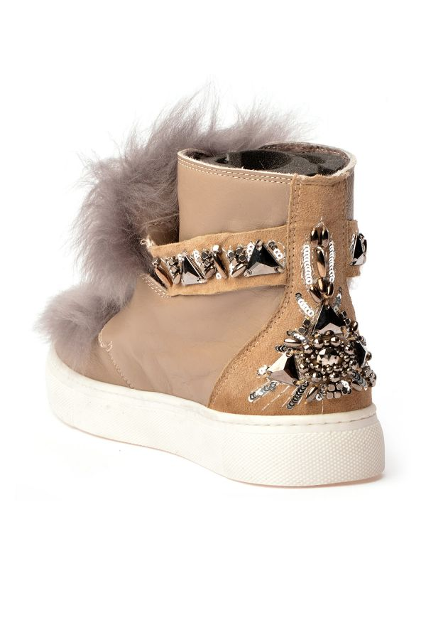 Alba Women Boots From Genuine Leather And Toscana Fur Beige