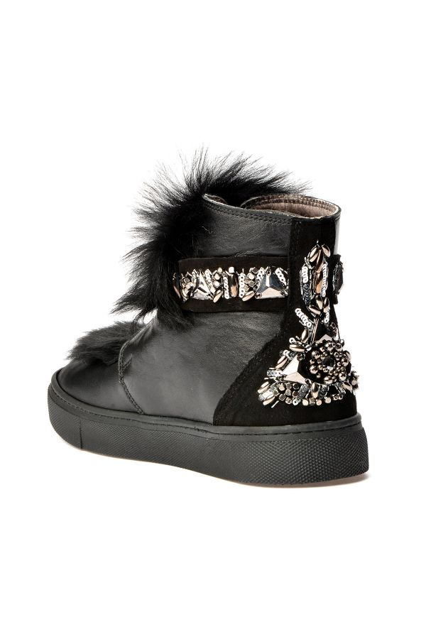 Pegia Women Boots From Natural Leather And Toscana Fur Black