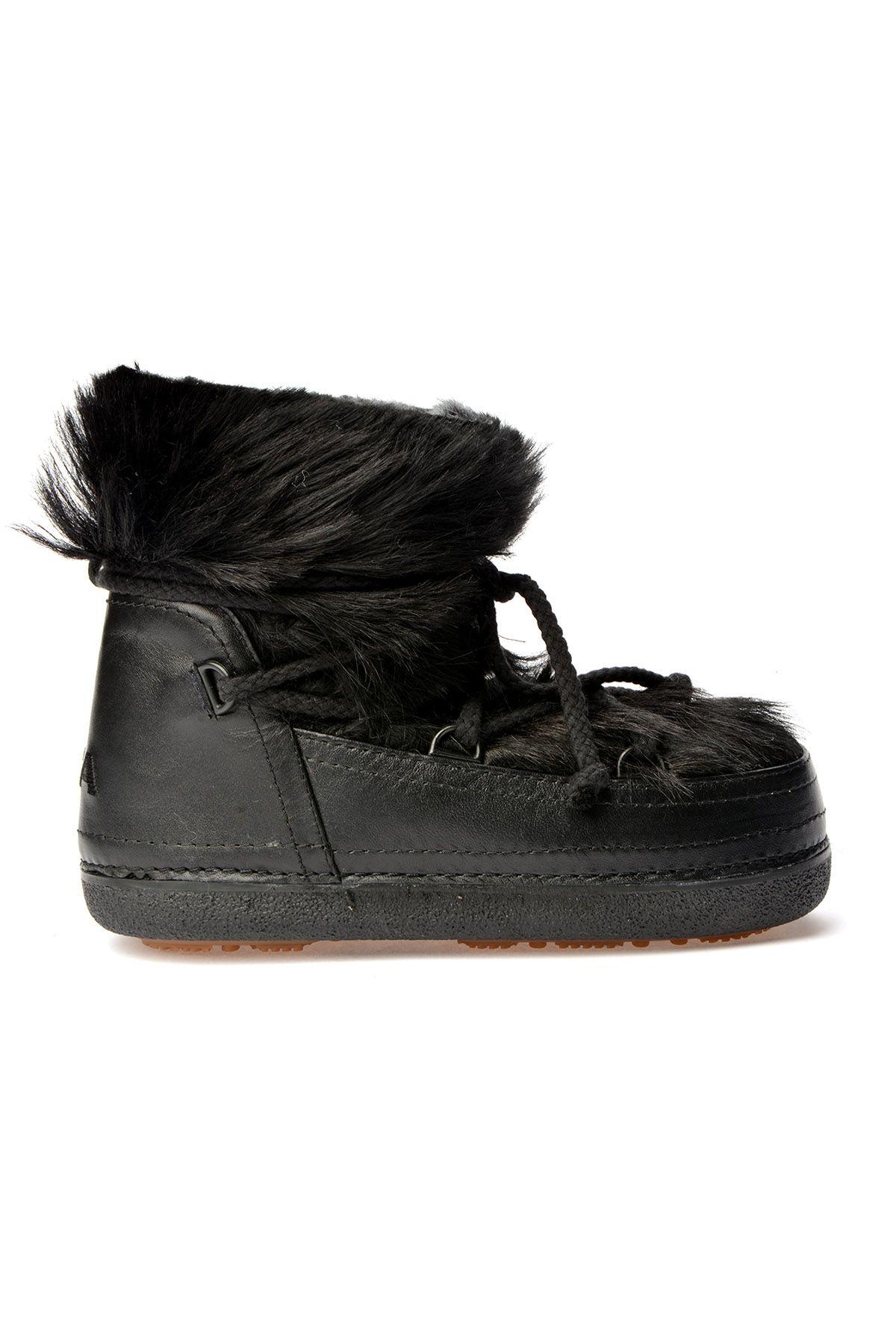 Alba Женские Ботинки-Снегоходы Из Натурального Меха Черный