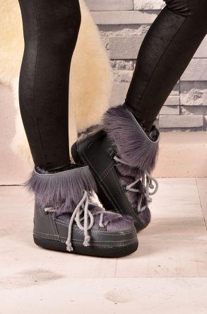 Alba Women Snowboots From Genuine Fur Gray