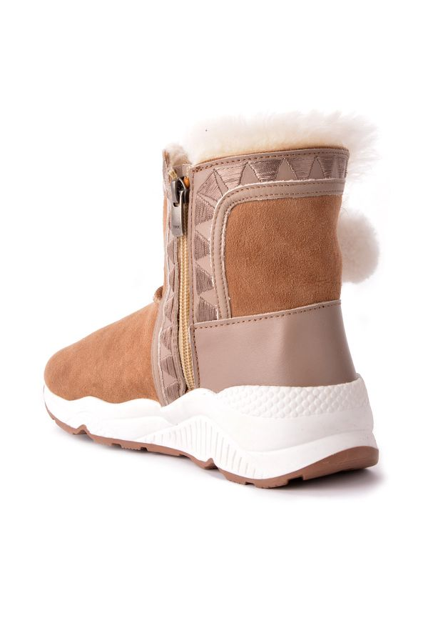 Pegia Women Boots From Genuine Fur With Pompons Sand-colored