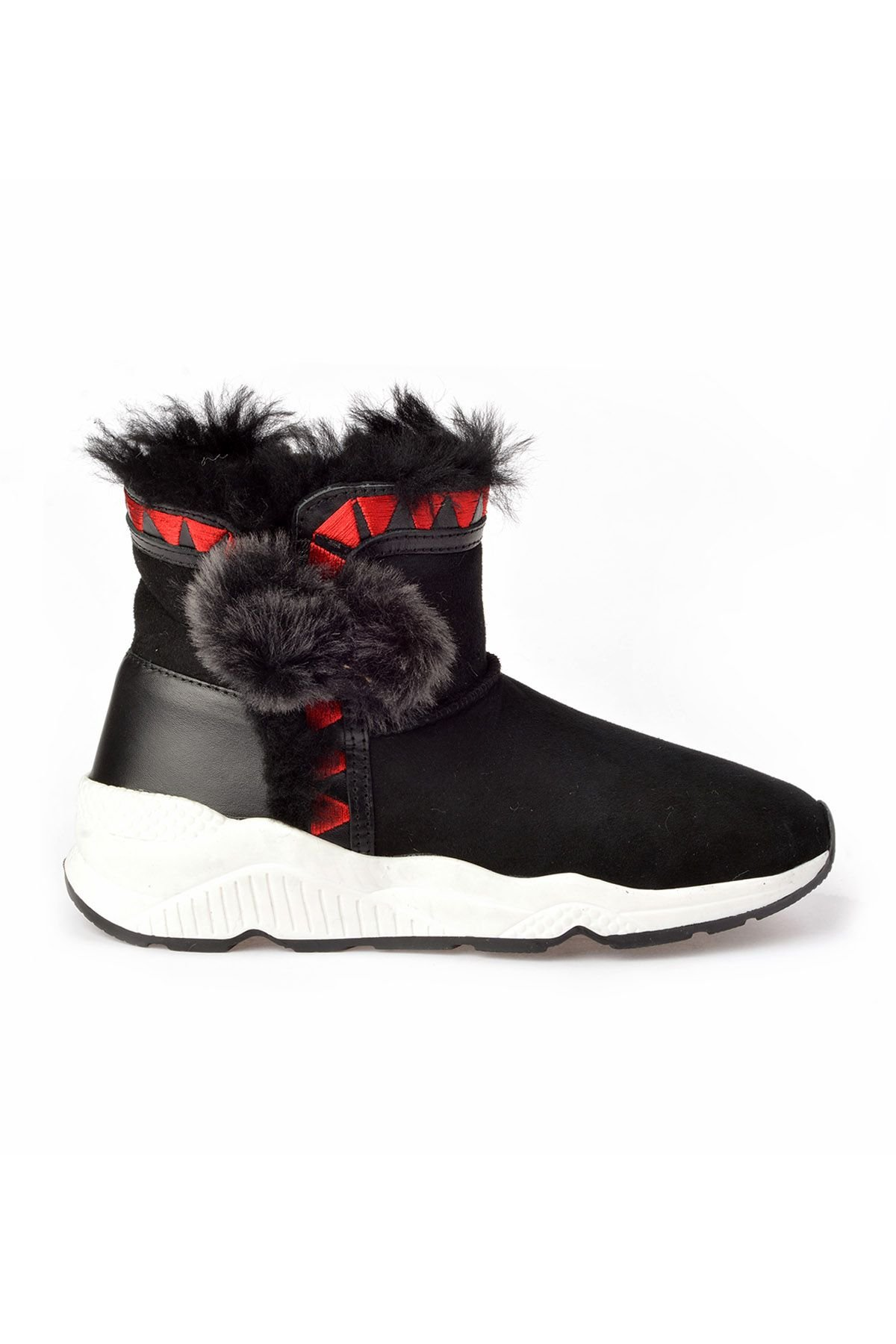 Pegia Women Boots From Genuine Fur With Pompons Black