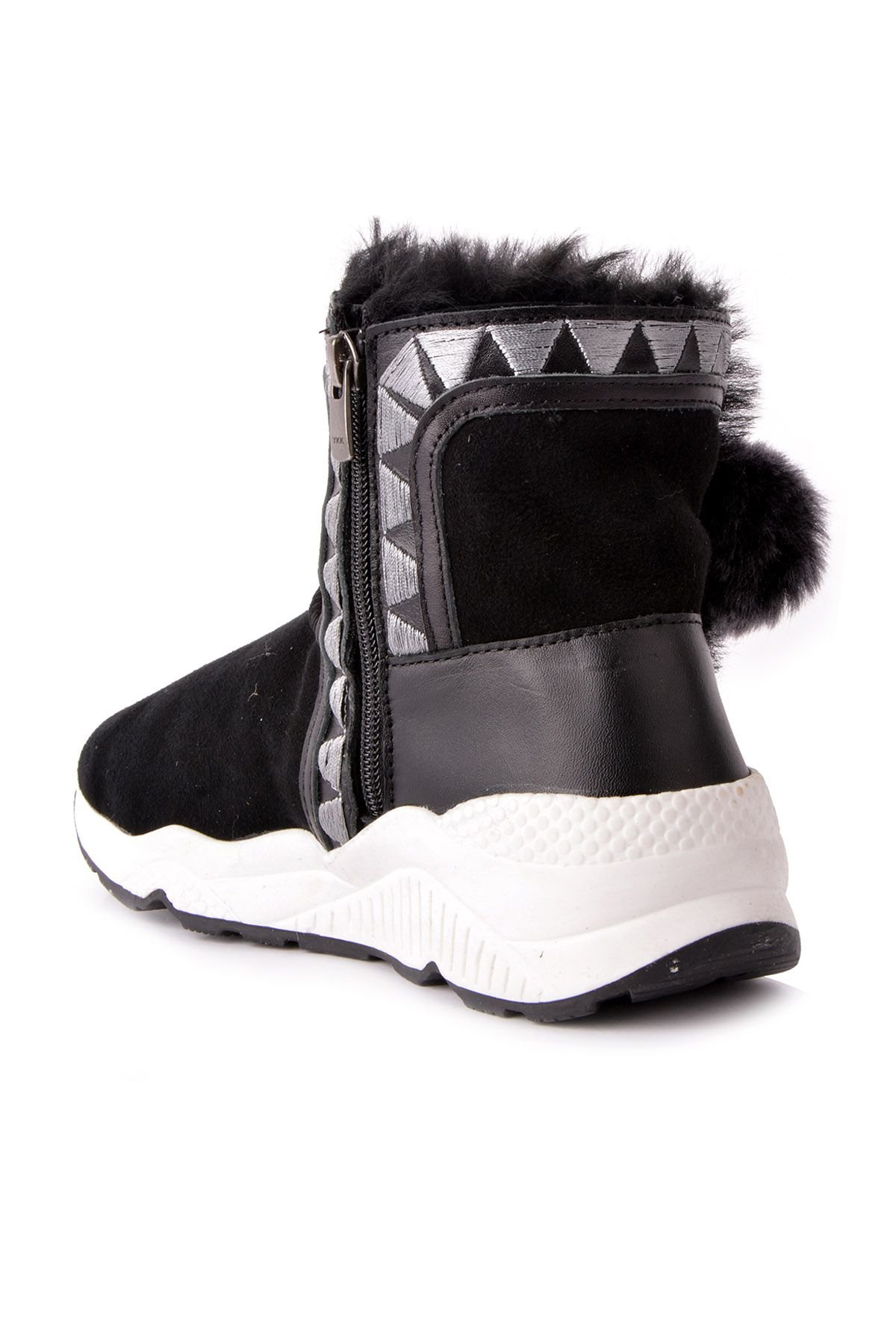 Pegia Women Boots From Genuine Fur With Pompons Black And Gray