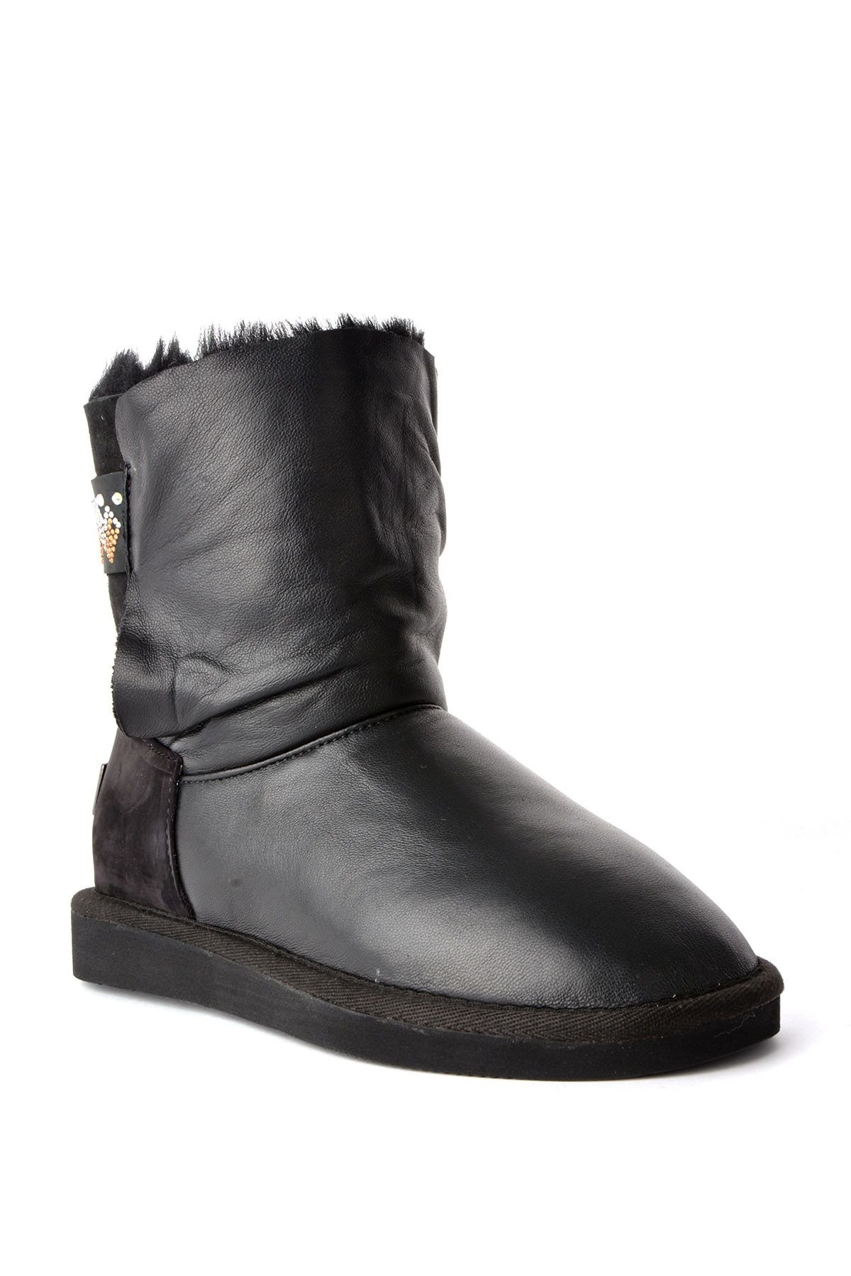 Pegia Women Uggs From Genuine Fur Decorated With Jewels Black