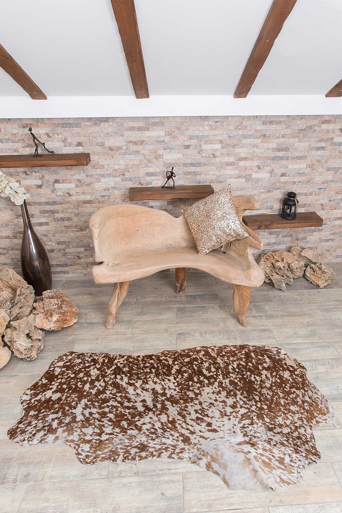 Erdogan Deri Decorative Calfskin Rug Natural