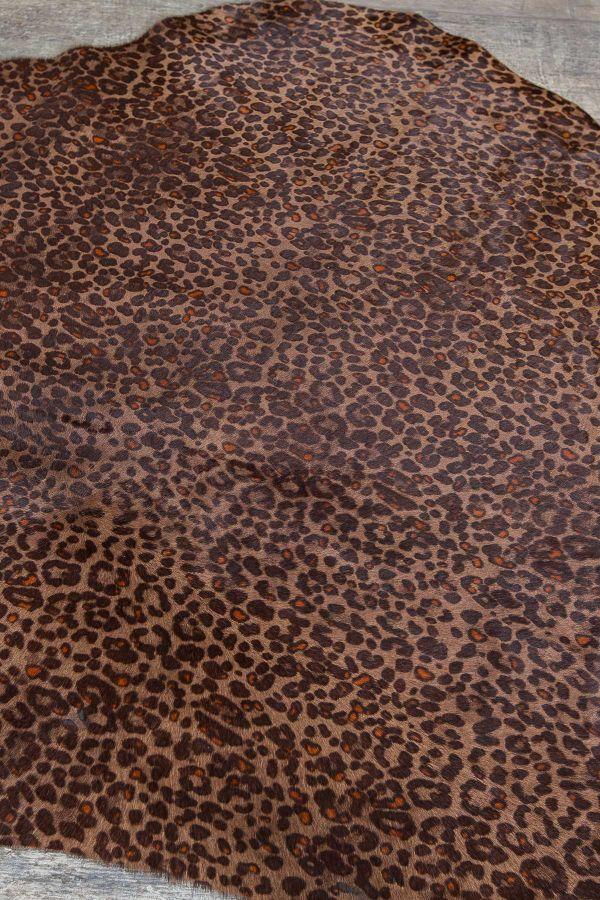 Erdogan Deri Calfskin Rug With Leopard Pattern Brown
