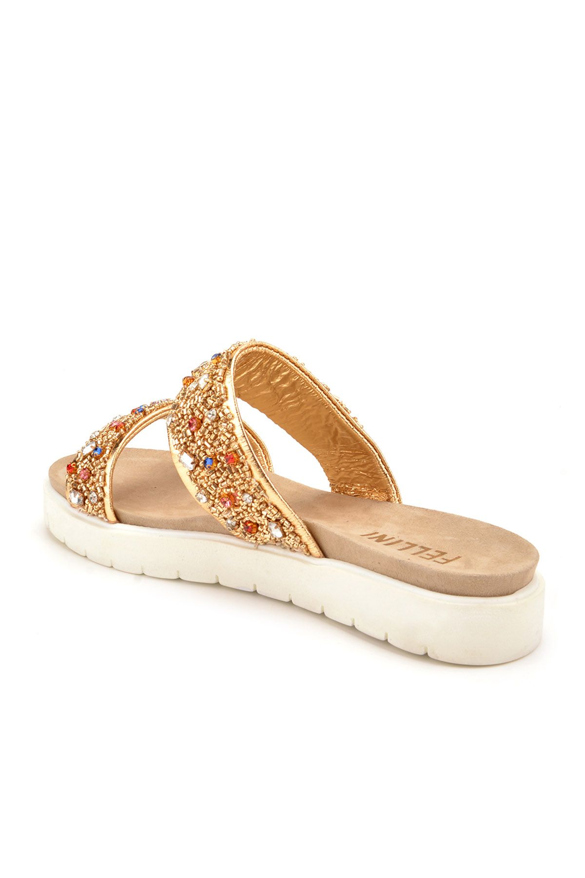 Fln Women Slippers From Genuine Leather Decorated With Stones Golden