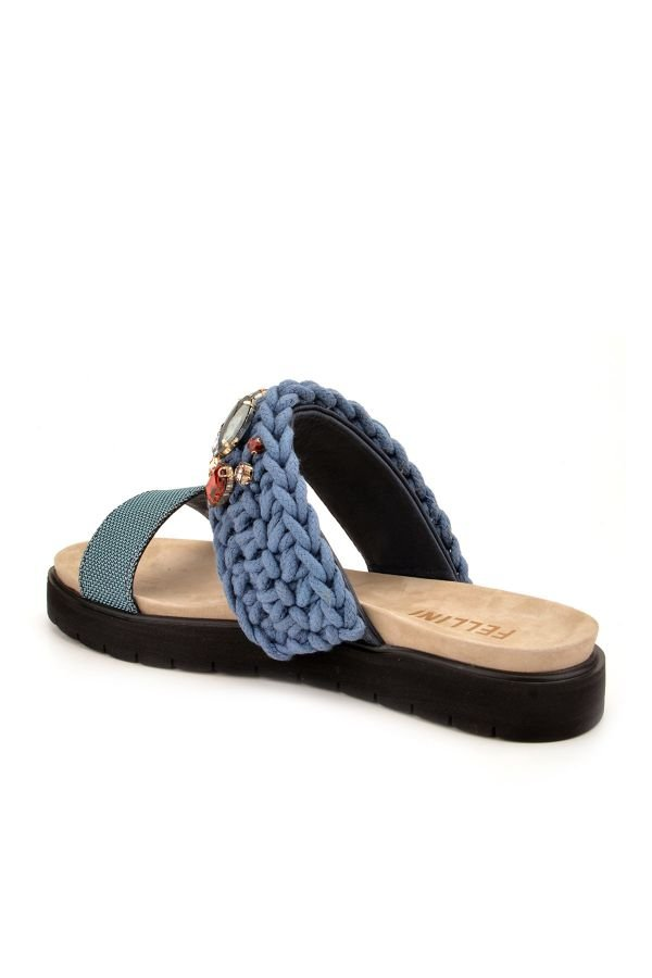 Fln Women Slippers From Genuine Leather And Cotton Cord Blue