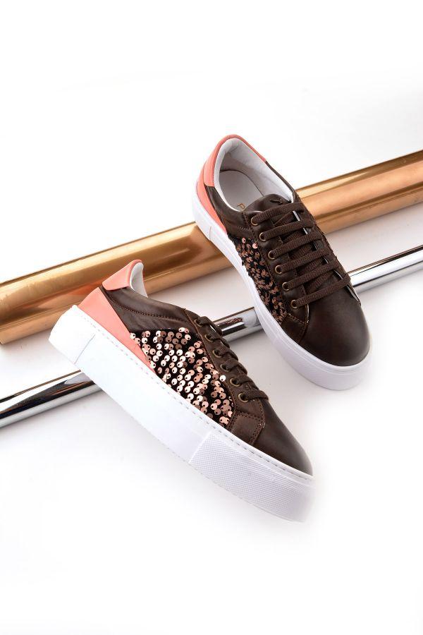 Pegia Blanche Hakiki Deri Spor Ayakkabı  Kahve