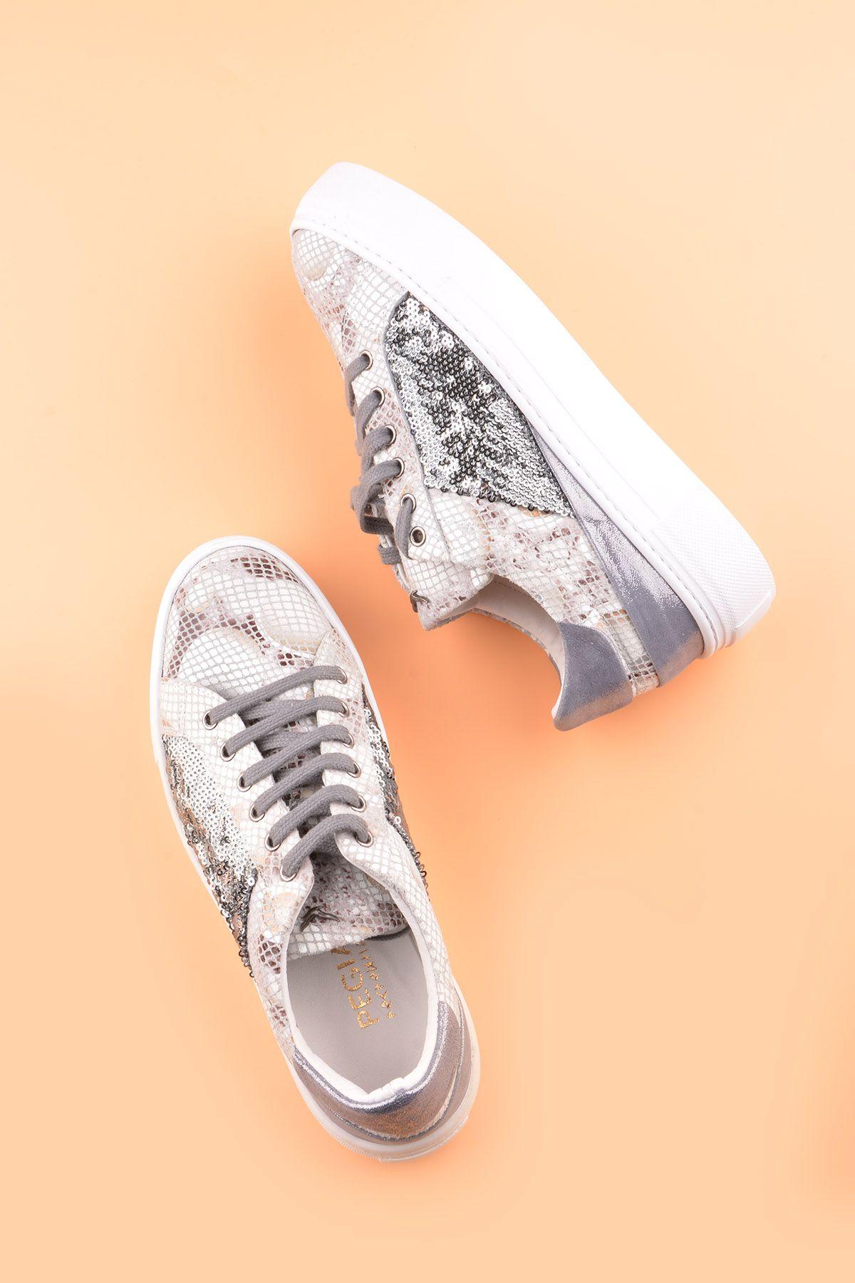 Pegia Blanche Hakiki Deri Spor Ayakkabı  Beyaz