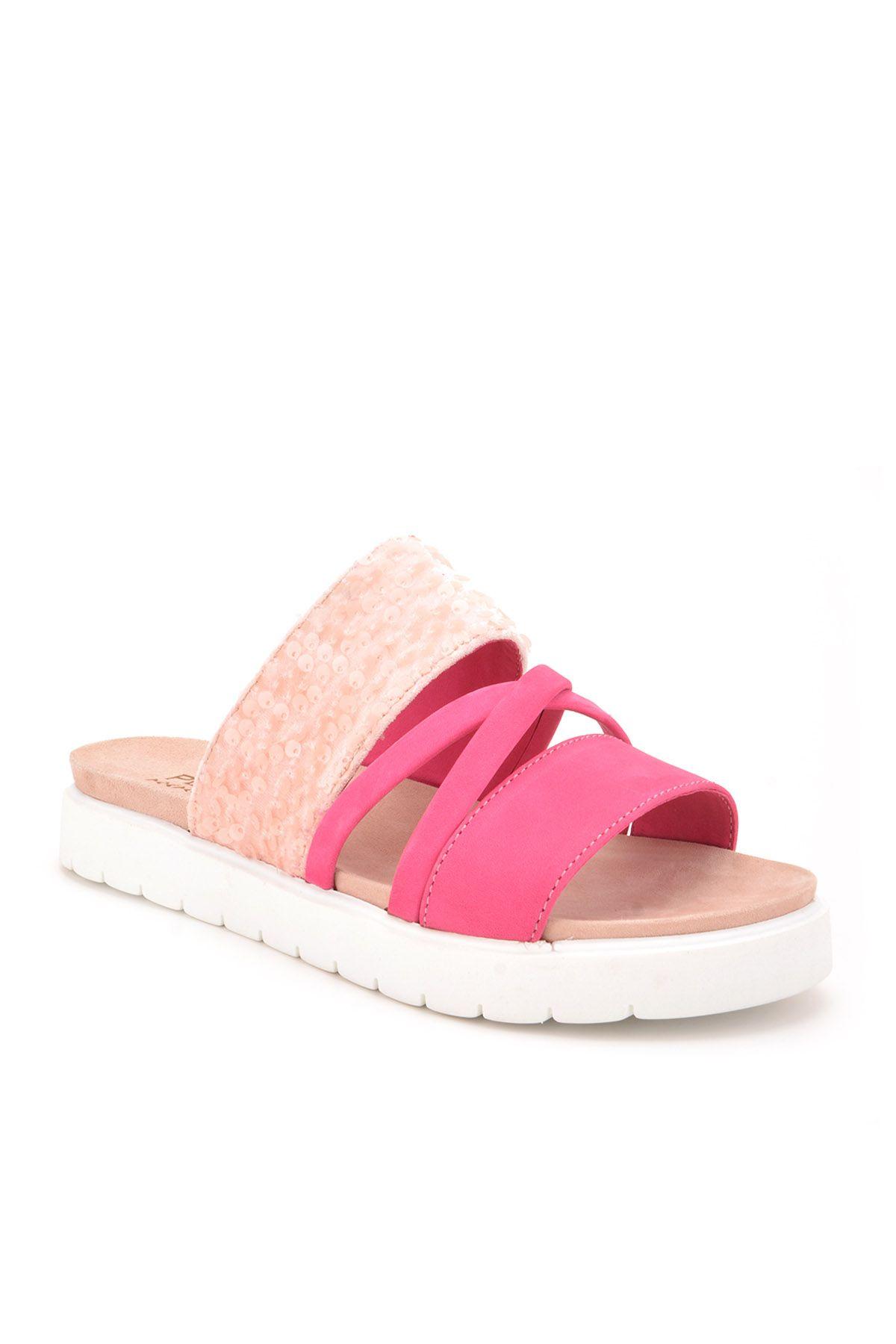 Pegia Alesia Женские Тапочки Из Натуральной Кожи REC-005 Розовый