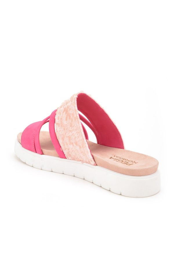 Pegia Alesia Women Slippers From Genuine Leather Pink