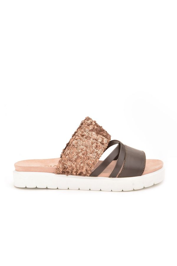 Pegia Alesia Women Slippers From Genuine Leather Brown