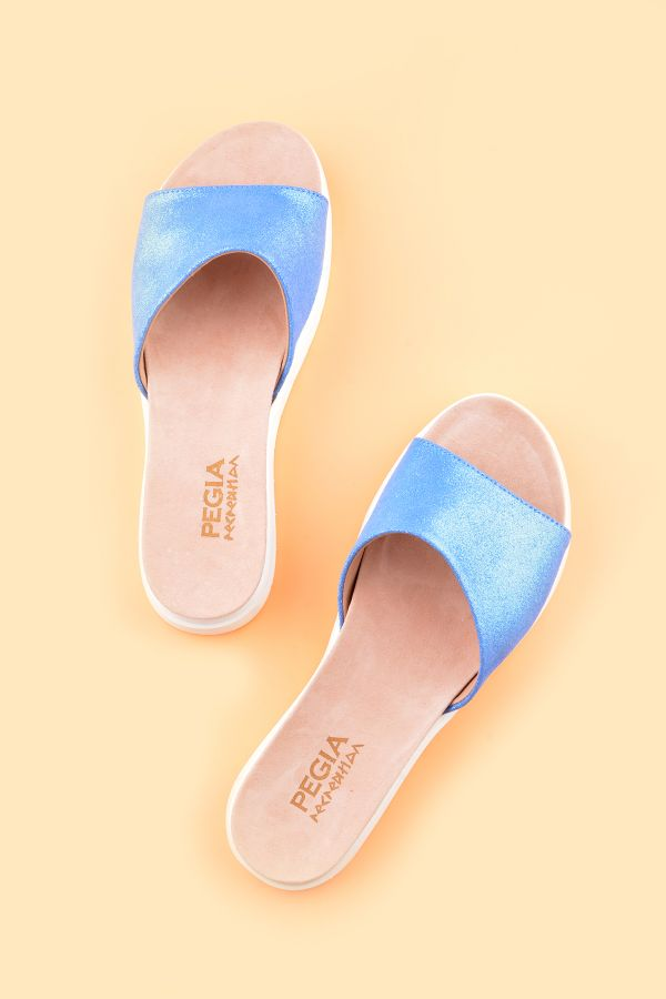 Pegia Drancy Women Slippers From Genuine Leather Blue