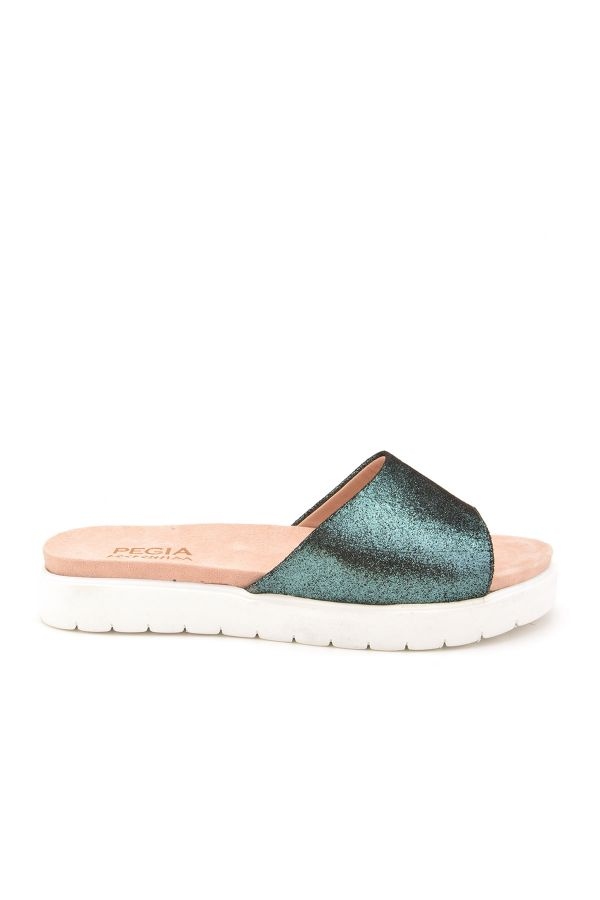 Pegia Drancy Women Slippers From Genuine Leather Green