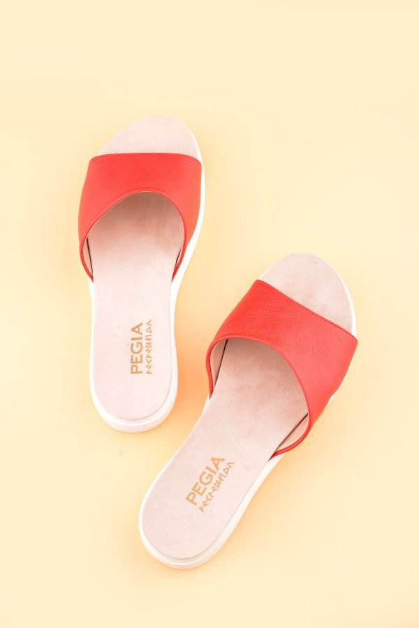 Pegia Drancy Women Slippers From Genuine Leather Red