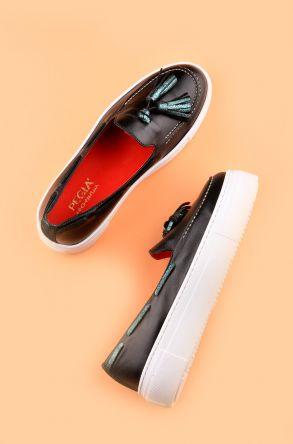 Pegia Pernety Hakiki Deri Günlük Ayakkabı Siyah