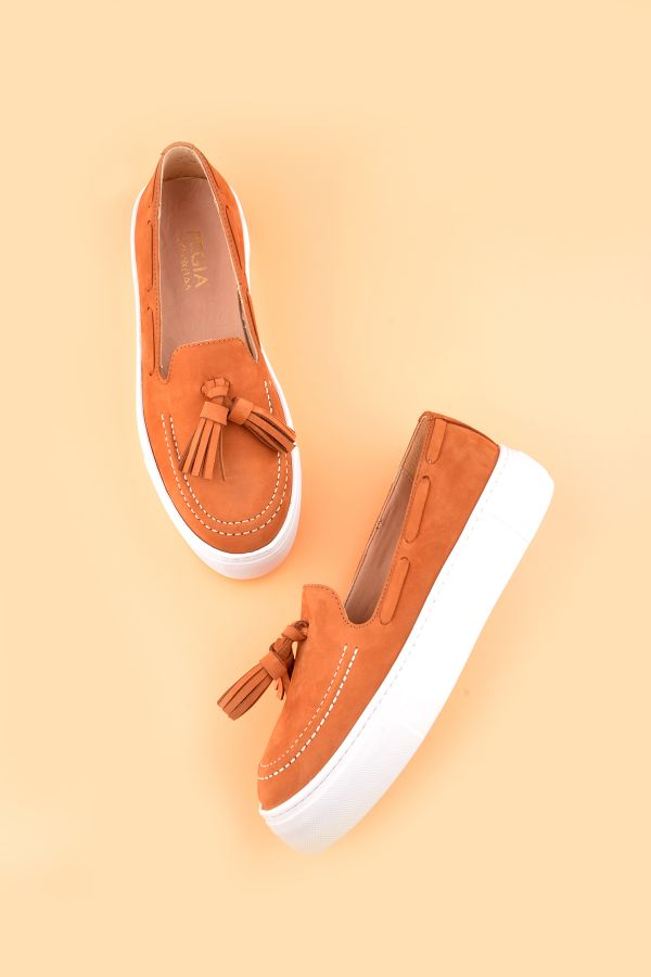 Pegia Pernety Casual Shoes From Genuine Leather Ginger