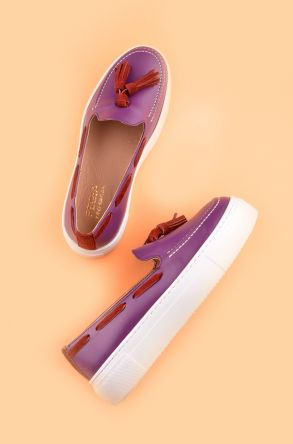 Pegia Pernety Casual Shoes From Genuine Leather REC-010 Purple