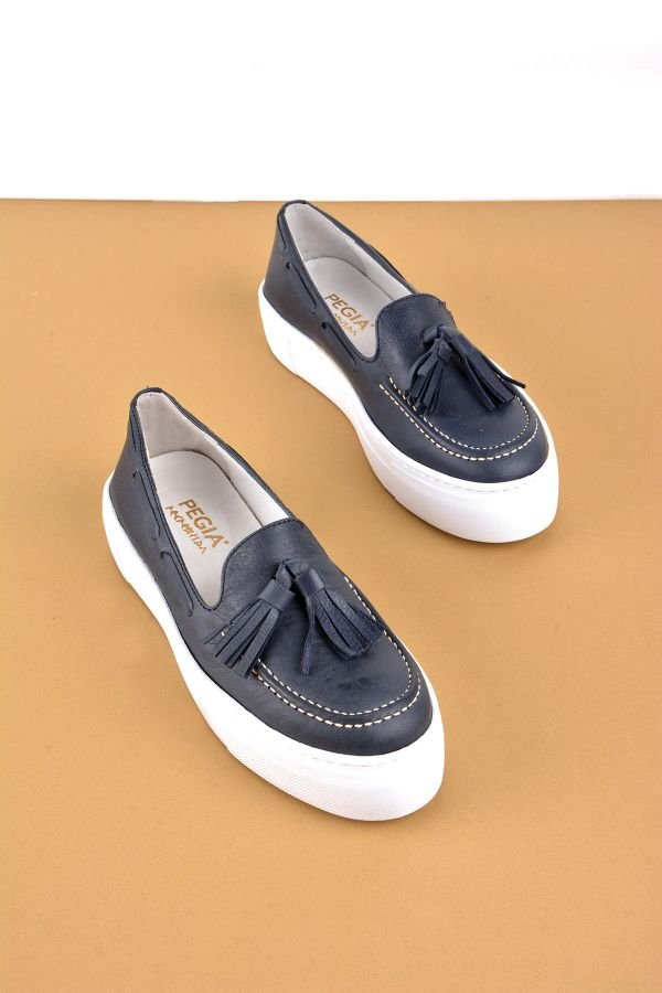 Pegia Pernety Casual Shoes From Genuine Leather Navy blue