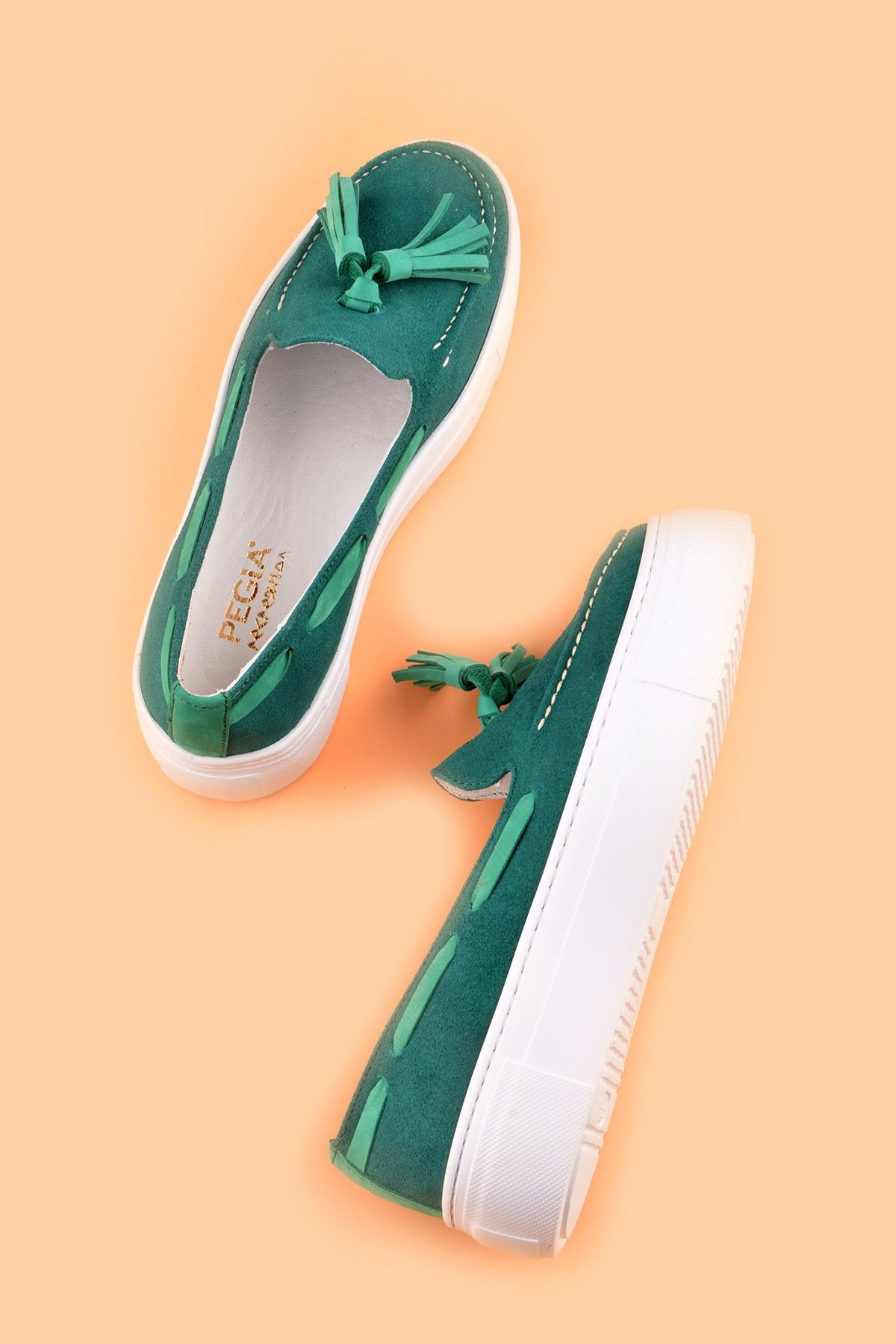 Pegia Pernety Casual Shoes From Genuine Leather Green
