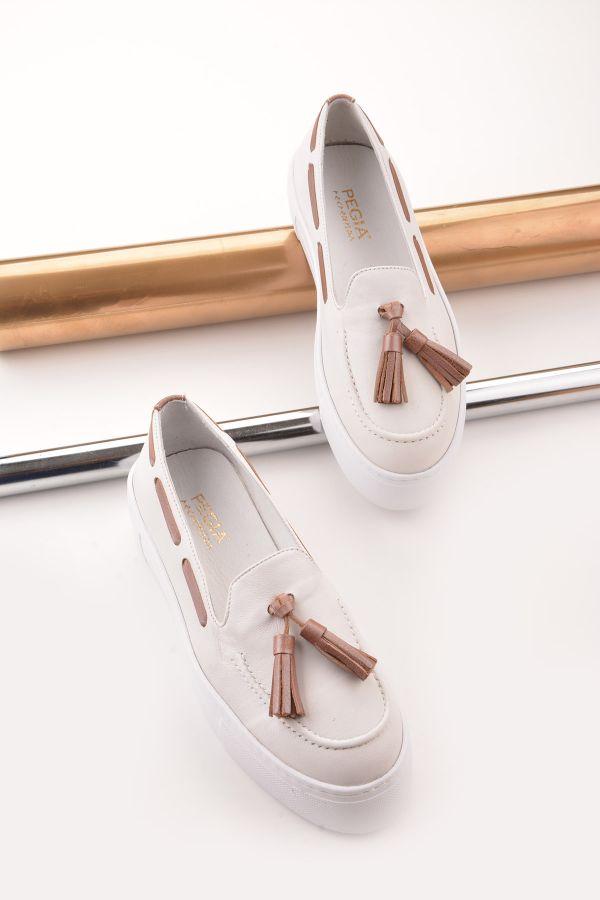 Pegia Pernety Hakiki Deri Günlük Ayakkabı  Beyaz