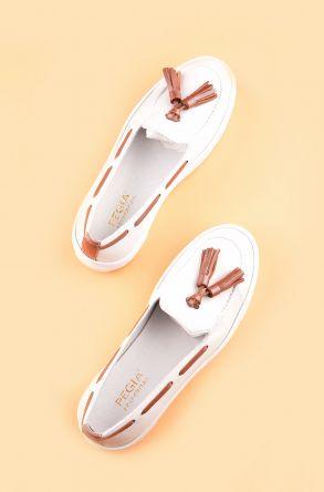 Pegia Pernety Hakiki Deri Bayan Günlük Ayakkabı REC-010 Beyaz