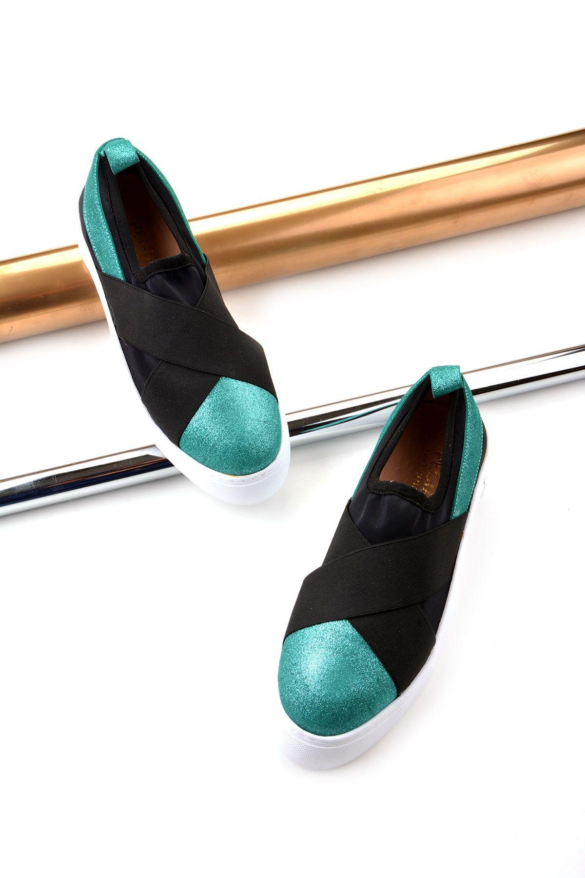 Pegia Voyage Hakiki Deri Bayan Günlük Ayakkabı REC-011 Yeşil
