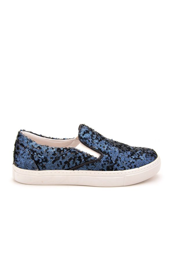 Pegia Sucre Sneakers From Genuine Leather Covered With Sequins Navy blue