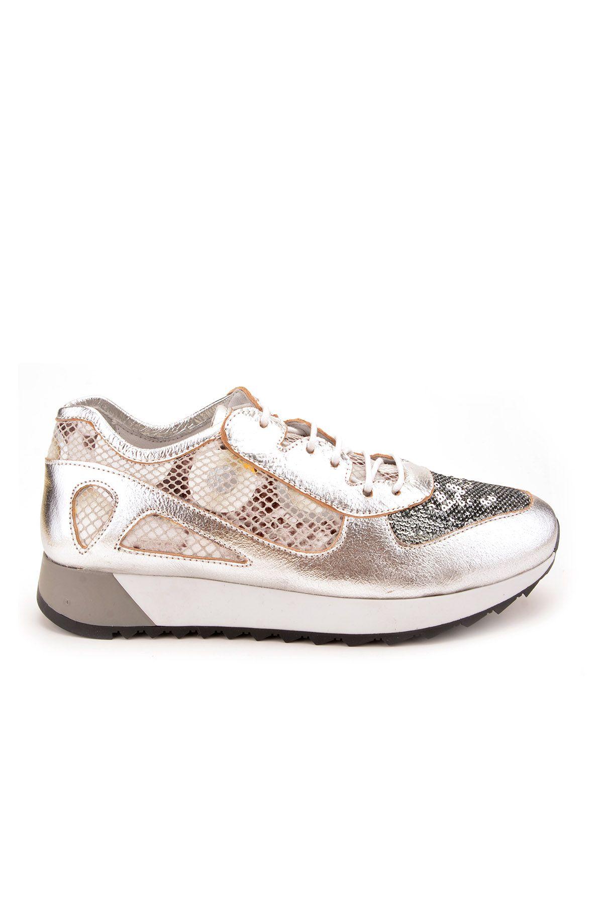 Pegia Anvers Hakiki Deri Spor Ayakkabı  Gümüş