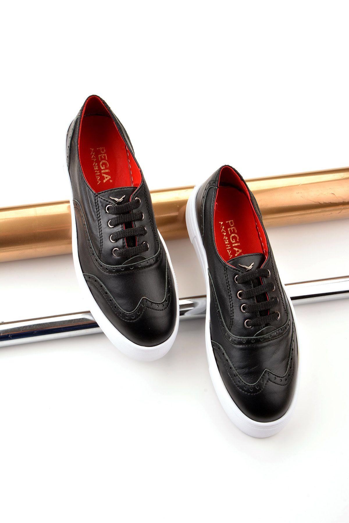 Pegia Chatalet Hakiki Deri Oxford Ayakkabı  Siyah