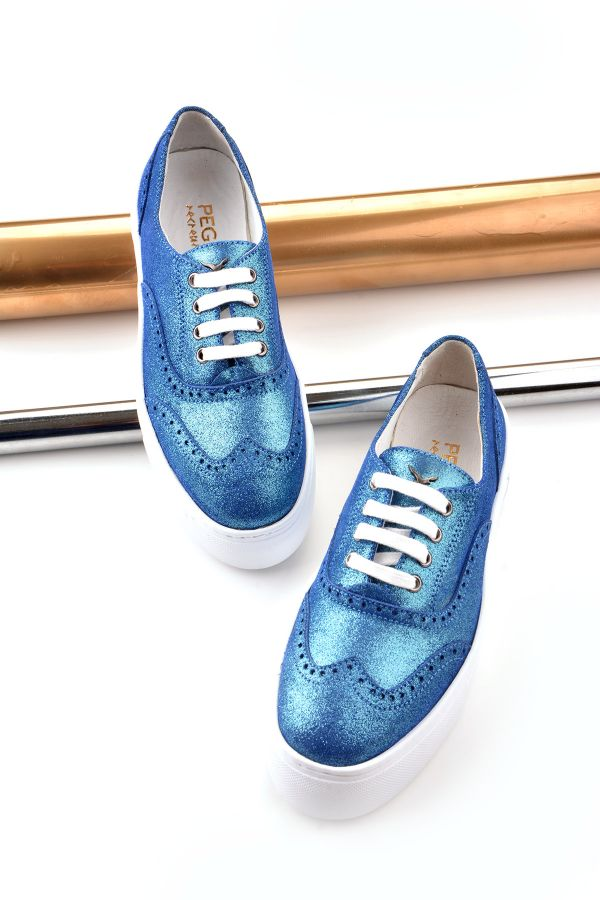 Pegia Chatalet Oxford Shoes From Genuine Leather Blue