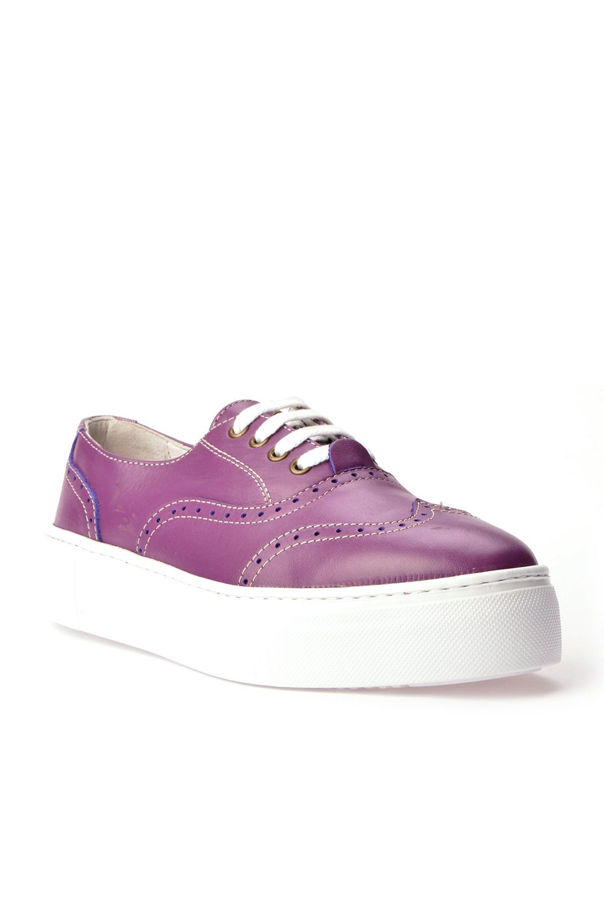 Pegia Chatalet Hakiki Deri Bayan Oxford Ayakkabı REC-014 Mor