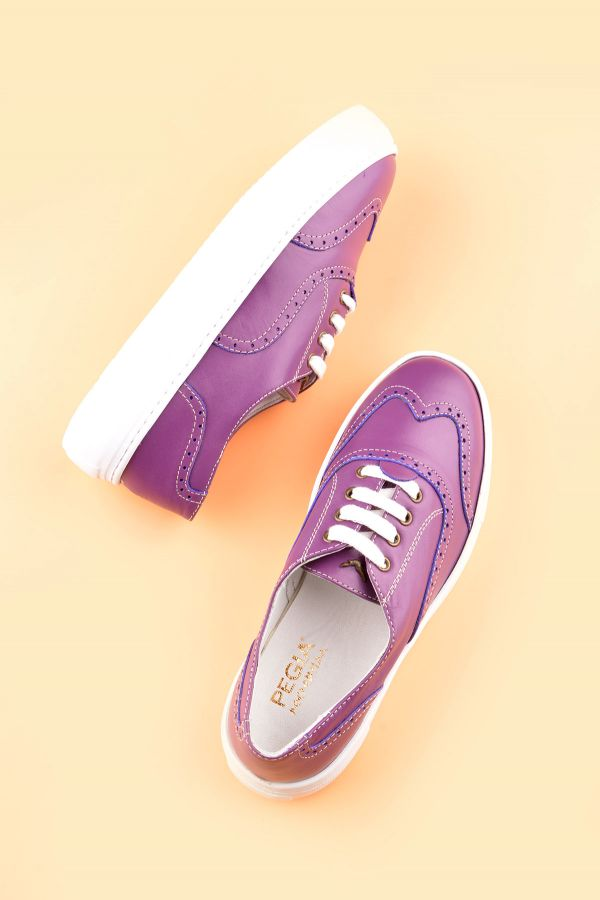 Pegia Chatalet Oxford Shoes From Genuine Leather Purple