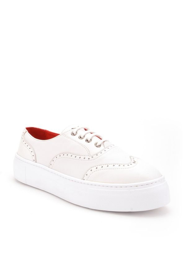 Pegia Chatalet Oxford Shoes From Genuine Leather White