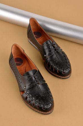 Pegia Шнурованная Женская Обувь Из Натуральной Кожи Черный