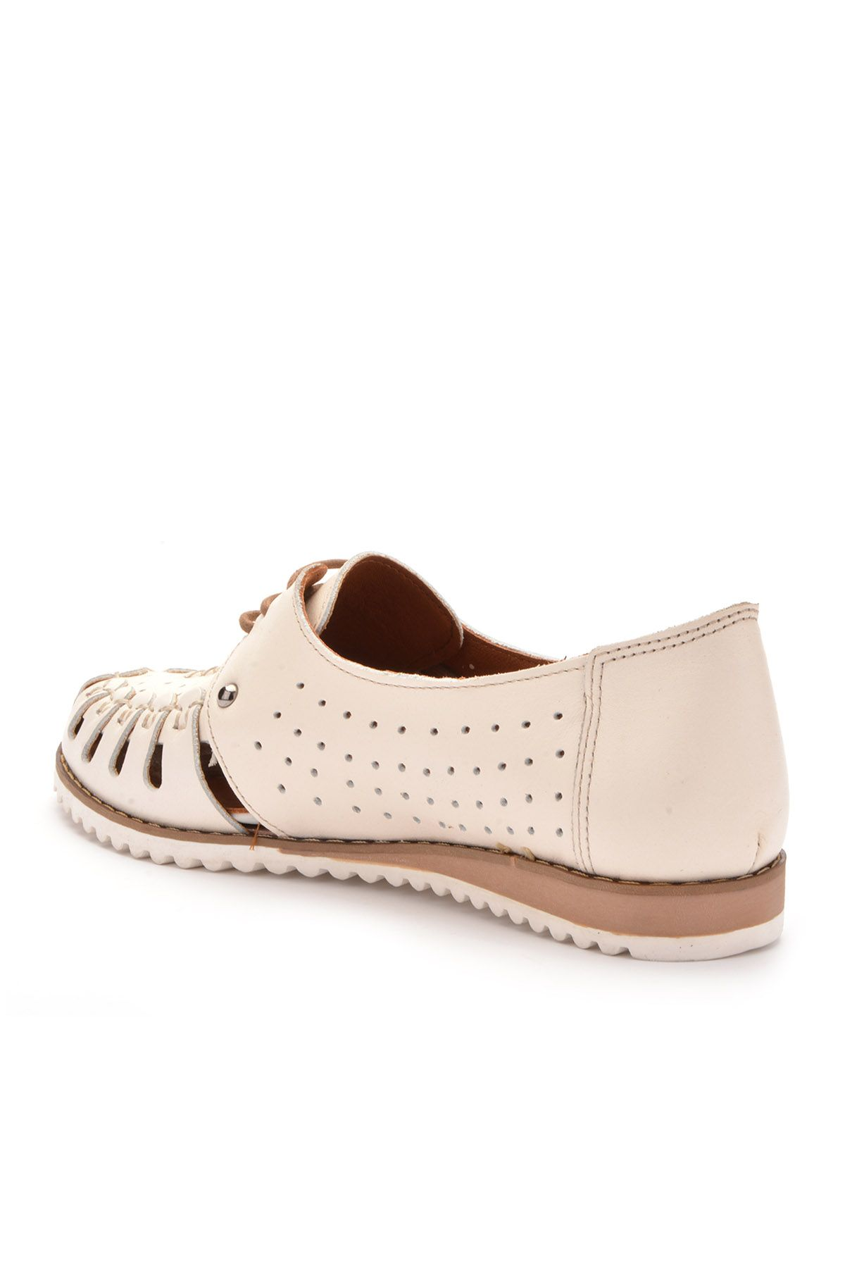 Pegia Lace Women Shoes From Genuine Leather White
