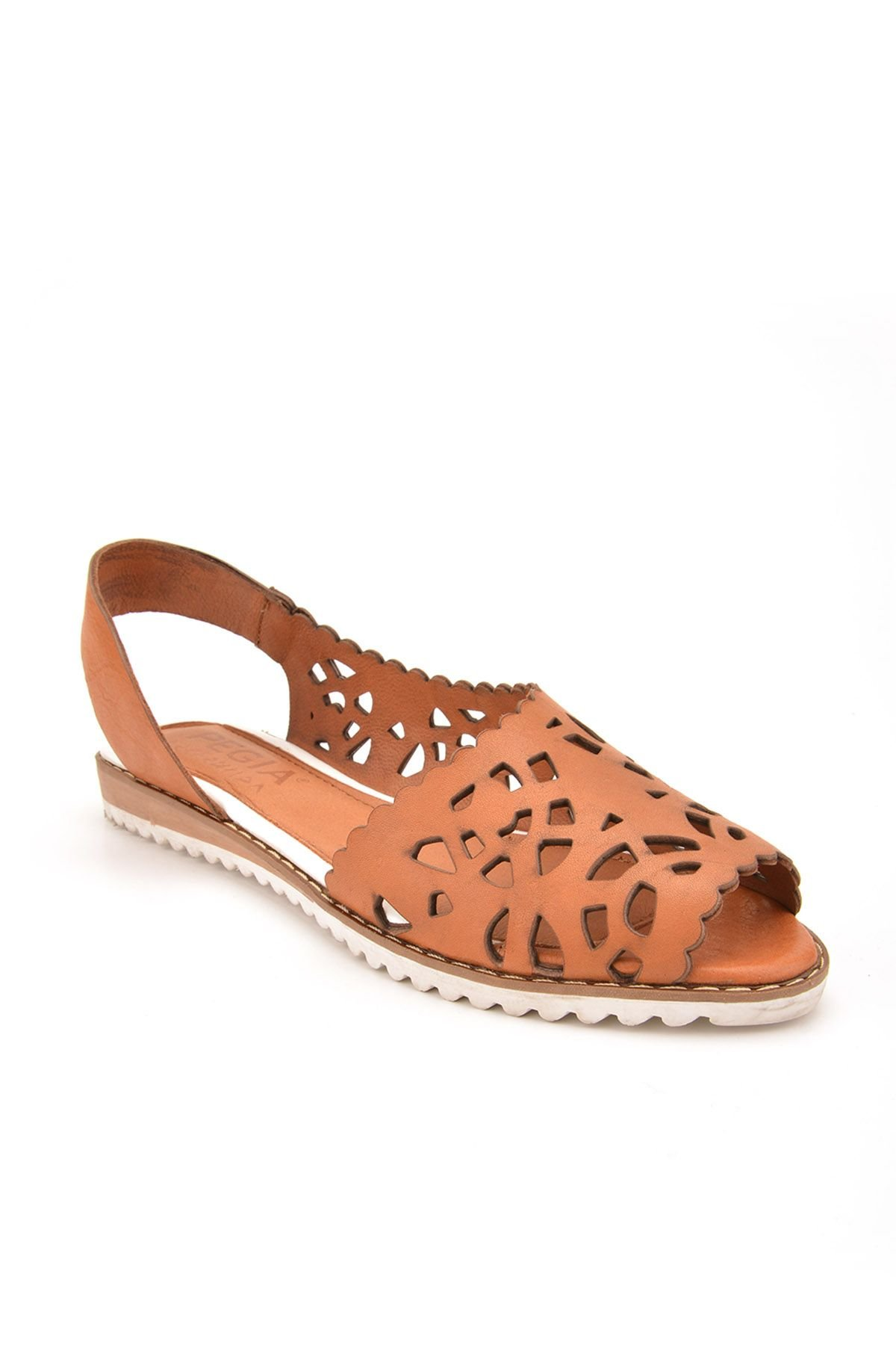Pegia Open Fronted Women Sandals From Genuine Leather Ginger