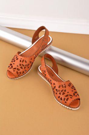 Pegia Hakiki Deri Önü Açık Kadın Sandalet Taba
