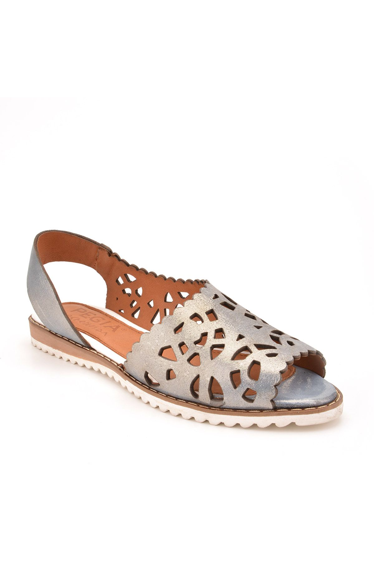 Pegia Open Fronted Women Sandals From Genuine Leather Silver