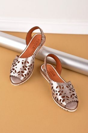 Pegia Open Fronted Women Sandals From Genuine Leather Bronze