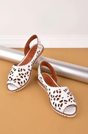 Pegia Hakiki Deri Önü Açık Bayan Sandalet Beyaz