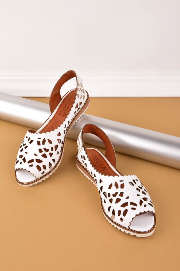 Pegia Open Fronted Women Sandals From Genuine Leather White