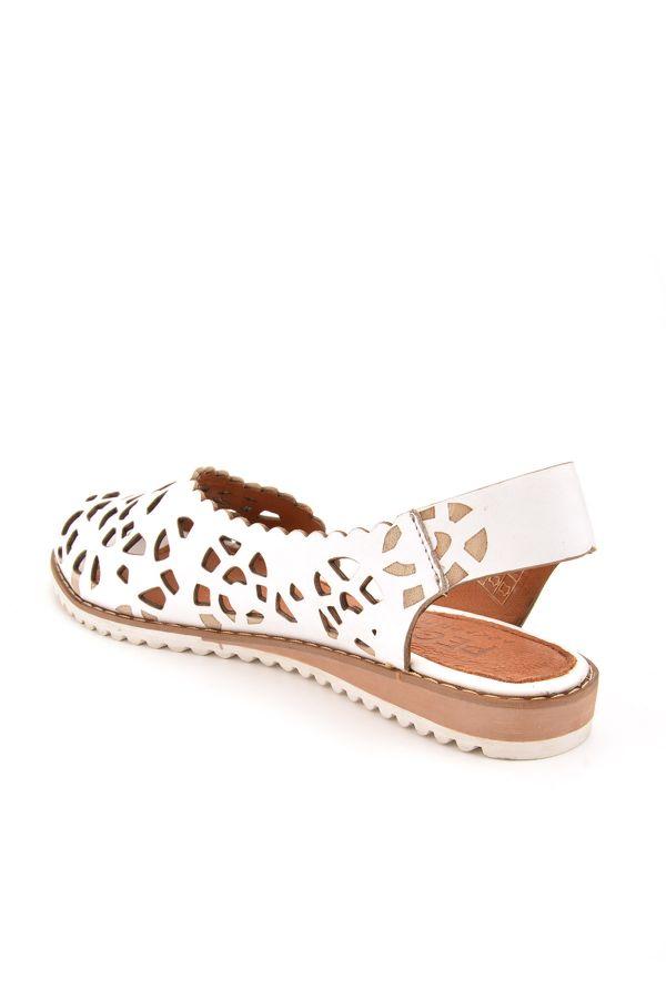 Pegia Hakiki Deri Önü Açık Kadın Sandalet  Beyaz