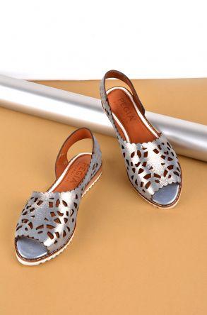 Pegia Hakiki Deri Önü Açık Bayan Sandalet Gümüş