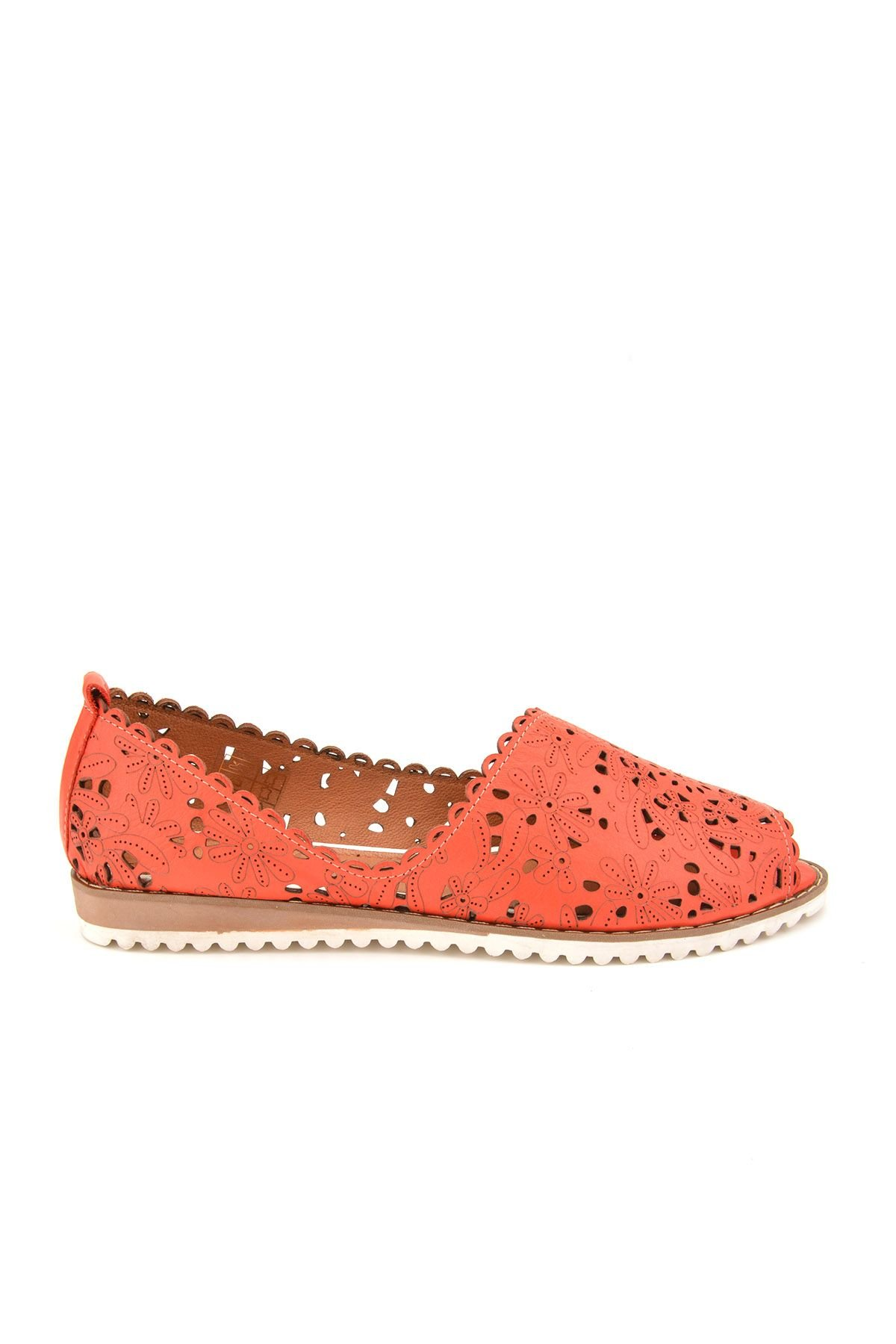 Pegia Open Fronted Women Shoes From Genuine Leather Red